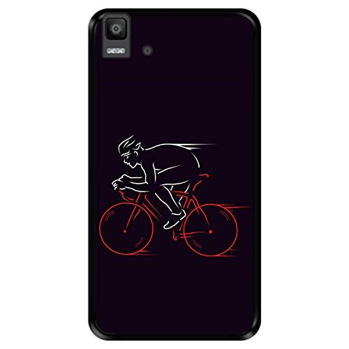 Hapdey Funda Negra para [ Bq Aquaris E5s - E5 4G ] diseño [ Atleta, Ciclista en Bicicleta ] Carcasa Silicona Flexible TPU
