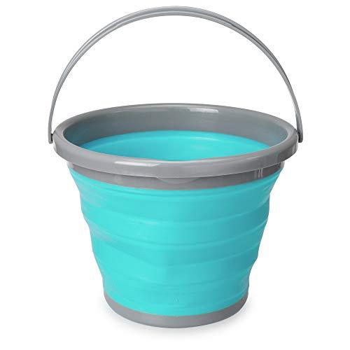 Navaris Cubo plegable para camping - Balde de agua de 10 L con asa para fregar lavar limpieza - Barreño flexible para viaje playa pesca - Azul y gris