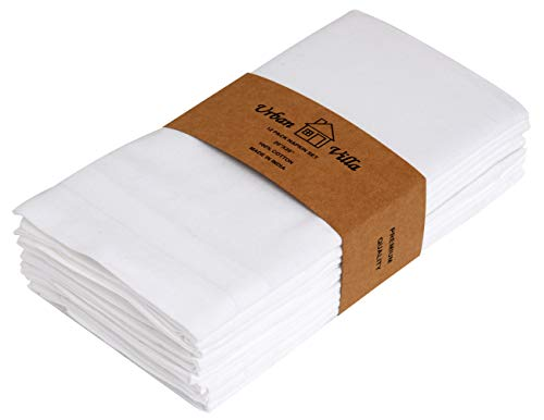 Urban Villa White 18 By 18 Inches Casement Weave Ultra Soft Premium Quality Dinner Napkins 100% Cotton Set of 12 White Cloth Napkins with Mitered Corners, Durable Hotel Quality, Pre-washed.