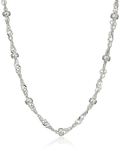 """Amazon Essentials Sterling Silver Singapore Bead Chain Station Necklace, 18"""""""