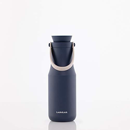 LOCK & LOCK METRO TUMBLER - Thermobecher für Kaffee, Tee und andere heiße und kalte Getränke - Vakuum Isolierflasche mit Trageschlaufe - 470 ml - blau