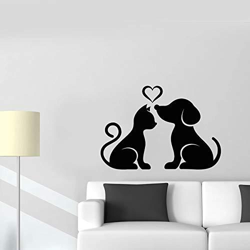 HGFDHG Calcomanía de Pared para Gatos y Perros, Pegatina de Vinilo para Ventana de Amor de Animales Familiares para Mascotas, Tienda de Mascotas, Dormitorio Infantil, decoración de la casa, Mural