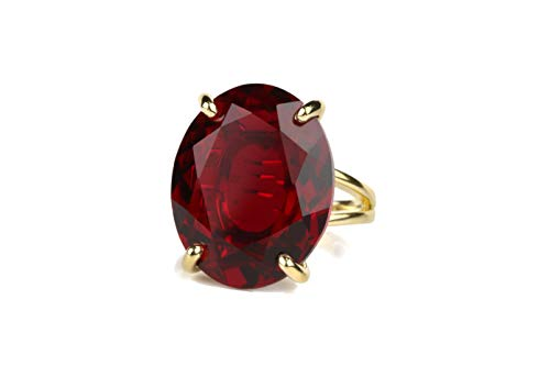 Anemone Jewelry Dazzling Oval Garnet Jewelry Ring - Artisan 14k Gold Large Rings for Women - Wedding, Fashion, Gift, Bohemian Natural Gemstone Rings - Birthstone Rings for Her