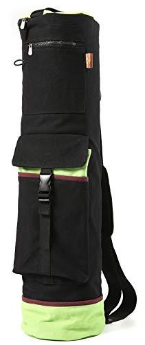 Heathyoga Navidad Venta Yoga Bolsa 28'L x 8' D, Multifuncional Bolsillos de Almacenamiento, 100% Lona de algodón con Encogimiento diseño, Negro (Dark Black)