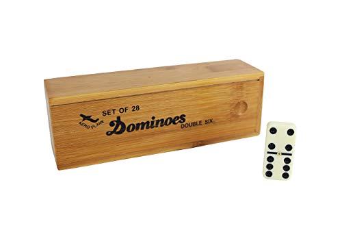 Juguete de Mesa Juegos de dominó 28 Piezas con Caja de Madera.