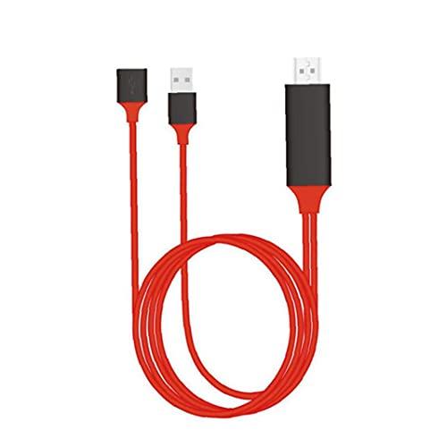 Rrunzfon Cable HD 3en1 teléfono al Cable Adaptador AV Digital de TV por Cable Espejo Compatible con Aislamiento de Apple Android Tensión Rojo