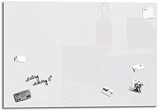 Smart Glass Board ® Pizarra de cristal magnética/Tablero de notas magnético en vidrio + 4 Imanes SuperDym + 1 Marcador + 1 Borrador, 130 x 90 cm Blanco