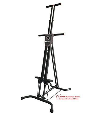 X-Factor Vertical Climber Cardio Exercise with Monitor and Resistance Straps for Smooth Climbing