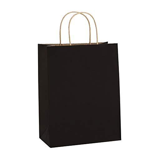 BagDream Kraft Paper Bags 8x4.25x10.5 Inches 100Pcs Gift Bags Party Bags Shopping Bags Kraft Bags Retail Bags Black Paper Gift Bags with Handles Bulk