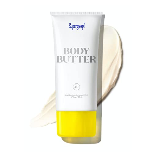 Supergoop! Body Butter with Sea Buckthorn SPF 40, 5.7 fl oz - Reef-Safe, Hydrating Body Cream For Dry Skin with Broad-Spectrum UV Protection - Hints of Eucalyptus, Clove & Vanilla