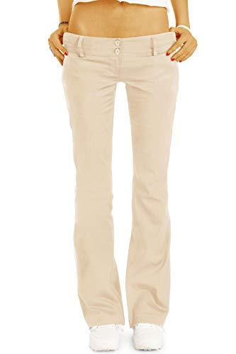 bestyledberlin BE Styled Damen Chinos - Stoffhosen - Bootcut Hüfthosen mit Stretch h17a 36/S beige