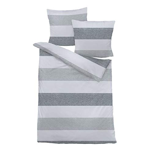 Traumschlaf Biber Bettwäsche Streifen grau 1 Bettbezug 240 x 220 cm + 2 Kissenbezüge 80 x 80 cm