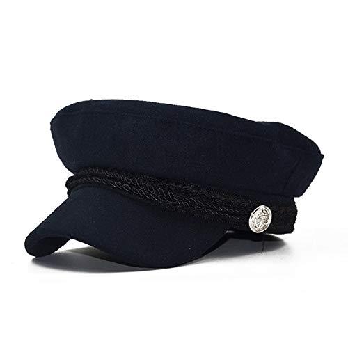 Mdsfe voorjaarshoed herfstmode dames wollen muts Britse stijl warme retrokrantenjongenhoed achthoekige hoed vrouwelijke zonnehoed k3997 dark blue-A3997