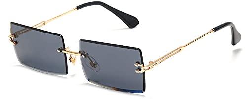 Dakecy Gafas de Sol para Mujer, Gafas de Sol cuadradas sin Montura, Gafas sin Marco tintadas, Gafas rectangulares Transparentes Vintage para Mujeres y Hombres (Color : Black)