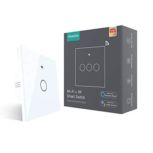 MoesGo Smart Alexa Lichtschalter Touch Wlan RF433 Kein Neutralleiter erforderlich, ohne neutralleiter Wifi Schalter Arbeiten mit Smart Life/Tuya app, Alexa und Google Home 1 Weg Weiß 1 Gang