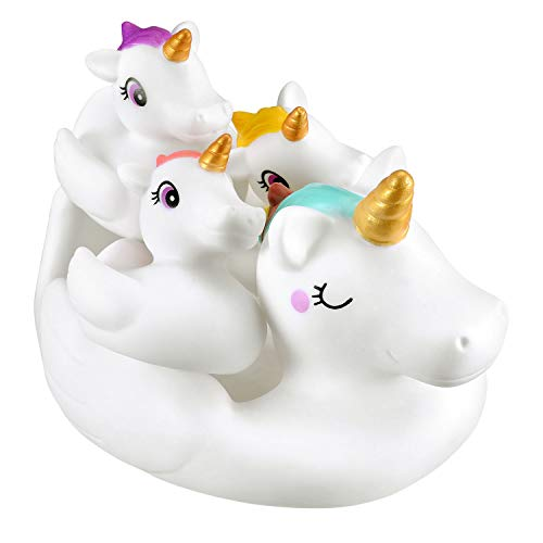 YowellGo Bath Toys, Water Spray Toys Cute Unicorn Rubber for Baby Kids Toddlers,for Shower Time or Pool Party,Unicorn Floating Bath Squirt Toys Ideal Gifts, 4pcs Set