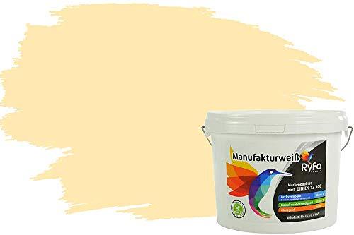 RyFo Colors Bunte Wandfarbe Manufakturweiß Samtgelb 3l - weitere Gelb Farbtöne und Größen erhältlich, Deckkraft Klasse 1, Nassabrieb Klasse 1