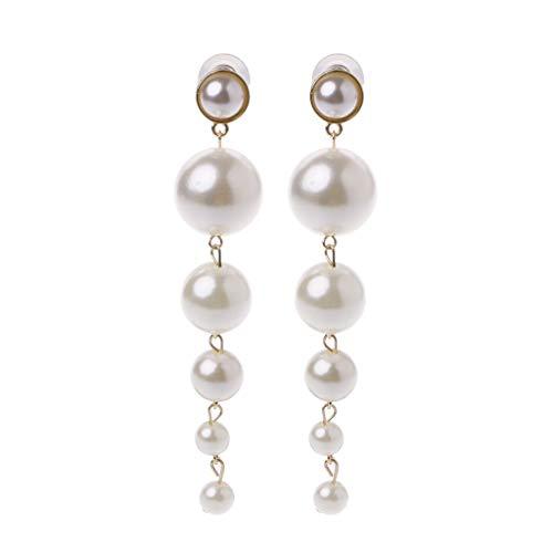 1 Pair Earrings, Elegant Long Big Pearls Drop Earrings for Women Statement Jewelry for Wedding