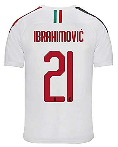 PUMA AC Milan - Camiseta Away réplica 2019/2020 Ibrahimovic, Color Blanco/Tango Rojo, para Hombre, Talla L