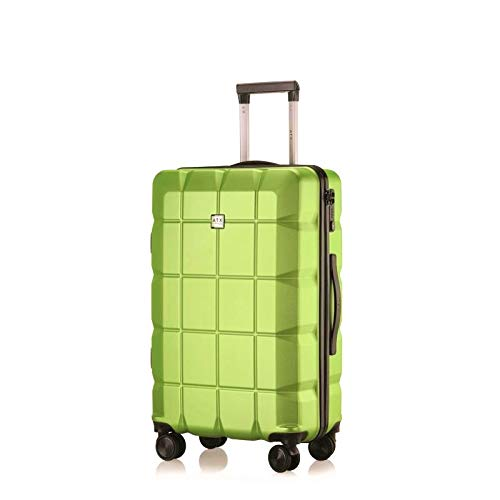 "ATX Luggage 24"" Medium Super Lightweight Durable ABS Hard Shell Hold Luggage Suitcases Travel Bags Trolley Case Hold Check in Luggage with 8 Wheels Built-in TSA Lock(24' Medium, Lime Green)"