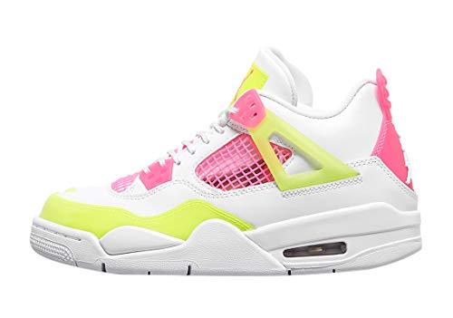 Nike Air Jordan 4 Retro SE (GS), Zapatillas de básquetbol para Niños, White White Lemon Venom Pink Blast Hyper Crimson White, 38.5 EU