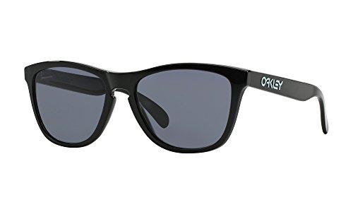 Oakley Frogskins - Gafas de sol para hombre, color negro pulido, lenti gris, talla 55