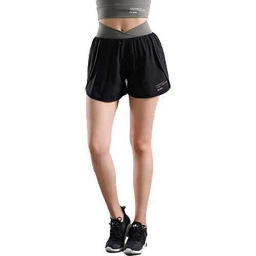 Zestion Pantaloncini Sportivi da Donna Fitness ad Asciugatura Rapida Tinta Unita Sollevamento dell'anca Palestra antiriflesso Allenamento Yoga Pantaloncini da Jogging da Corsa Large
