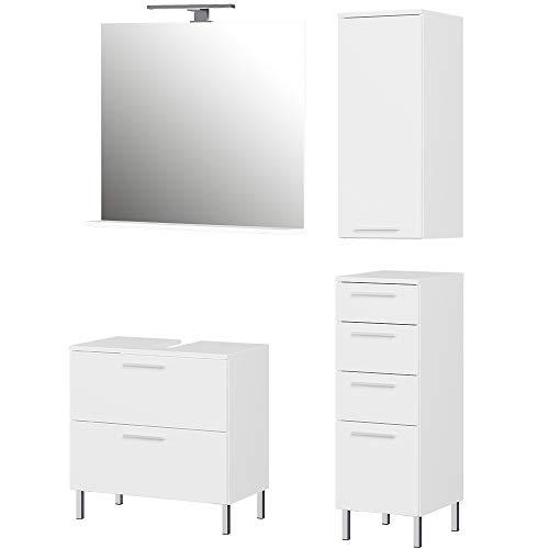 Germania 4-tlg. Badezimmer-Set 8549-84 GW-Arvada, bestehend aus Waschbeckenunterschrank, Spiegel, Unterschrank und Hängeschrank, in der Farbe Weiß