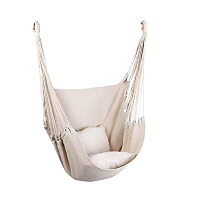 Hammock Chair Hanging Rope Swing, Max 300 Lbs Hanging Chair with Pocket- Quality Cotton Weave for Superior Comfort & Durability Perfect for Outdoor, Home, Bedroom, Patio, Yard (Beige)