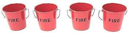 Preisvergleich für 4 X Verpackt Feuer Eimer Rot Schwarz Metal Eierbecher Weißer Griff 4.5cm X 4.5cm
