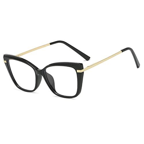 Gafas de Lectura, Gafas de Bloqueo de luz Azul for Mujeres, Gafas de Moda Marco óptico Vintage Gafas for computadora, Juegos (Color : PGJ210 Black, Size : +1)