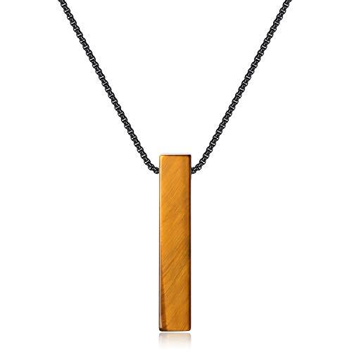 COAI Collar de Acero Inoxidable 60cm con Colgante Barra Rectangular de Ojo de Tigre