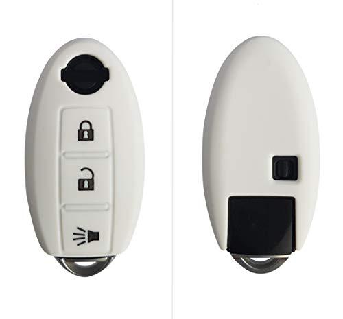 Coque de clé CK+ 3 boutons en silicone pour Qashqai X-Trail, Pulsar, Leaf Weiß