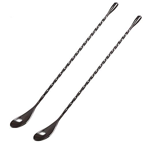 DIFENLUN 12 Inches Mixing Spoon Stainless Steel, Spiral Pattern Bar Spoon for Cocktail Shaker Tall Cups