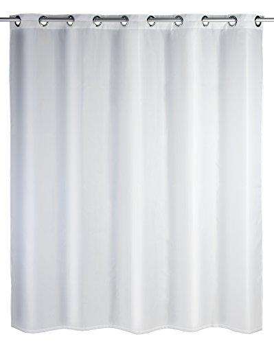 WENKO Duschvorhang Comfort Flex Weiß - Textil , waschbar, wasserabweisend, mit 12 Duschvorhangringen und integrierter Hängeeinrichtung, Polyester, 180 x 200 cm, Weiß