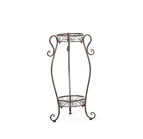 Home - Flower shelf ZWD żelazny regał kwiatowy, dwuwarstwowy klasyczny wzór 2 kolory sypialnia salkon do salonu pod oknem ochrona przed rdzą (kolor: brąz, wymiary: 26 x 86 cm)