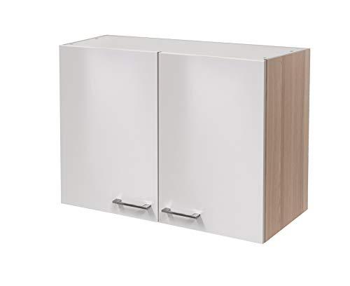 MMR Hängeschrank Küche DERRY, Küchenschrank, 2-türig, verstellbarer Einlegeboden, 80 cm breit, Perlmutt Weiß