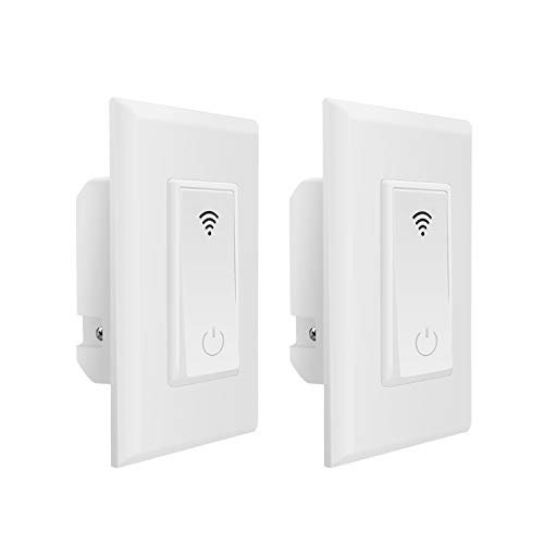 Smart Light Switch,Jinvoo WiFi Smart Wall Light Switch,Voice Control and Timing Function,No Hub Hequired,Easy and Safe Installation Compatible with Alexa and Google.(2 Pack)