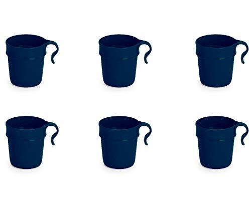 Nordiska Plast - 6 Kunststoffbecher mit Henkel 300 ml - blau - Becher - Kunststofftasse - Plastikbecher - Kaffeebecher - Kindertasse - Campingbecher Kunststoff Mehrweg - BPA-frei - Made in Sweden
