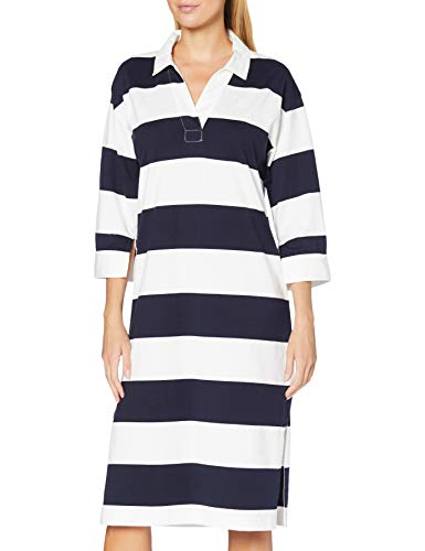 GANT Damen D1. Feminine Striped Rugger Dress Kleid, Evening Blue, M
