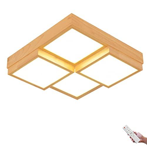 Plafón LED Lámpara cuadrada de madera Lámpara de techo regulable Lámparas de dormitorio Lámpara de interior moderna Pantalla acrílica con mando a distancia Ø45cm 2000 lm 24 W Lámpara de Plafón salón