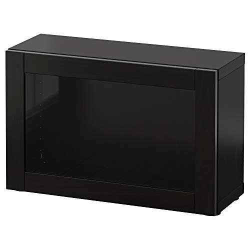 BESTÅ Estantería con puerta de cristal 60x20x38 cm Sindvik negro-marrón
