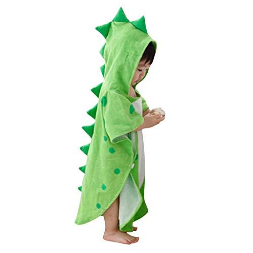 Wyxhkj Accappatoio Bambino con Cappuccio Dinosauro Sleepwear Robe Pigiama Costumi Cartoon Dinosauro Sleepwear Bath Loungewear Party Onesie per Ragazze Ragazzi Bambini (Verde)