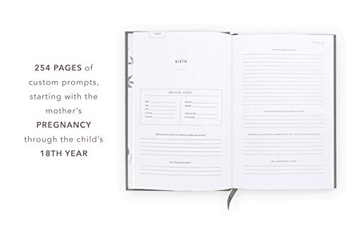 Promptly Journals - Childhood History Journal - Baby Books First Year and Pregnancy Journal - Baby Memory Book from Pregnancy Thru Age 18 (Grey)