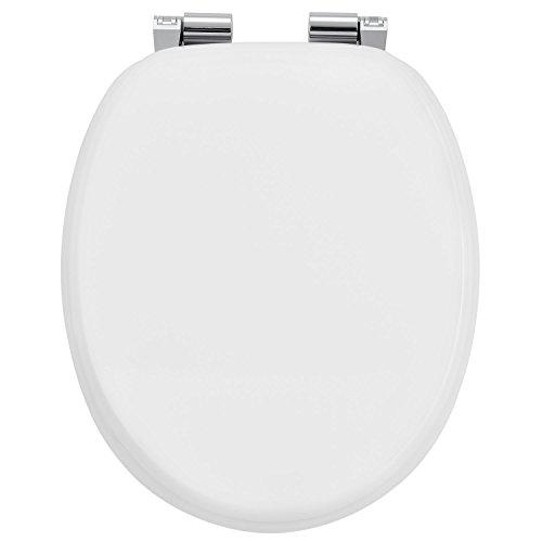 Juskys WC Sitz Weiß mit Absenkautomatik & Deckel | MDF Holz | verchromte Scharniere | Motiv Toilettensitz Toilettendeckel Klodeckel