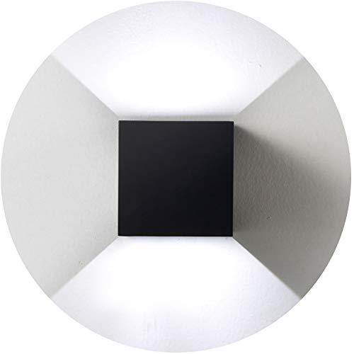 Topmo-plus Wandlampe/modern Wandleuchte mit einstellbar Abstrahlwinkel Wandbeleuchtung / 12W LED bridgelux COB/Wasserdichte IP65 Innen/Außenwandleuchten 3,94 inch Quadrat (Schwarz/Kaltweiß)
