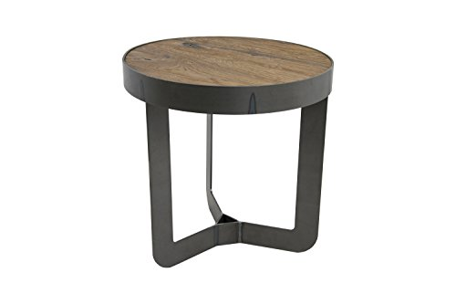 Spinder Design Douglas 1 Table d'appoint en Fer forgé Chêne Ø 46 x 50 cm