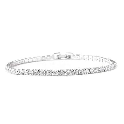 "Shop LC Delivering Joy White Cubic Zirconia Eternity Bridal Tennis Bracelet Jewelry for Women CZ Classic Jewelry 8"" Ct 6.6"