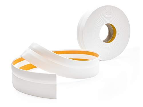 Weichsockelleiste Selbstklebend WEIß Knickleiste zum Kleben, für Küche Badezimmer, 32x23mm, 15 Meter