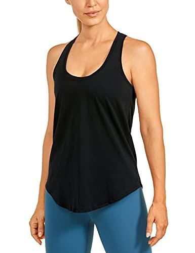 CRZ YOGA Sport Tank Top für Damen, Sport Tshirt Damen, Racerback Fitness Running Shirt Schwarz_r744 44